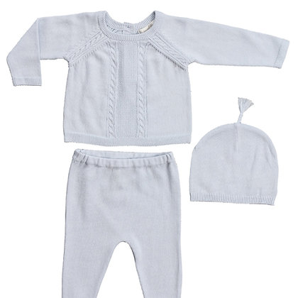 Take Me Home Cable Knit Baby Set - Blue
