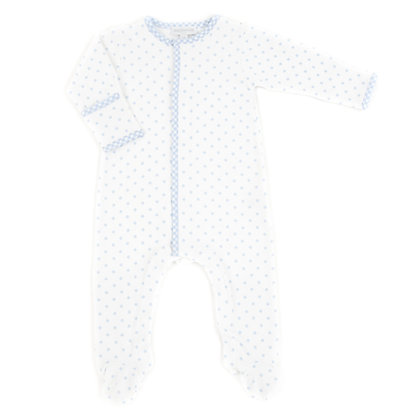 Gingham Dot Footie - Blue