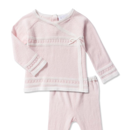Take Me Home Knit Baby Set - Pink/Ivory