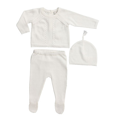 Take Me Home Cable Knit Baby Set -Ivory