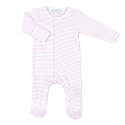 Printed Stripe Footie - Pink