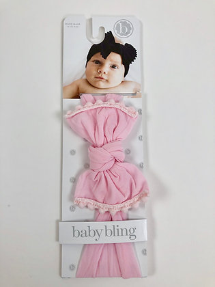 Baby Bling Headband - Pink Trimmed Bow