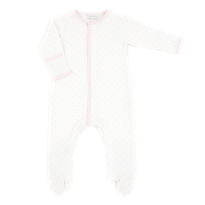 Gingham Dot Footie - Pink