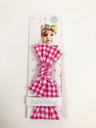 Baby Bling Headband - Pink Check