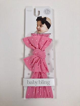 Baby Bling Headband - Pink Shabby Knot