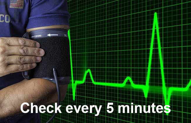 Also, monitor patient's vitals such as Blood pressure and Heart rate every 5 minutes.