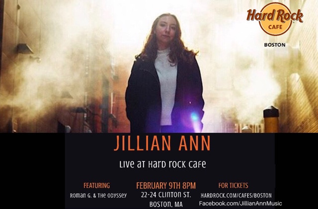 Jillian Ann to Play Hard Rock Cafe Boston February 9th, 2019