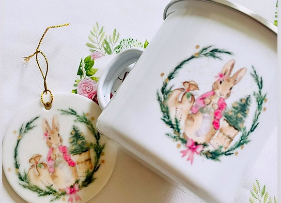 Flopsy Bunny personalised hot chocolate mug and decoration set
