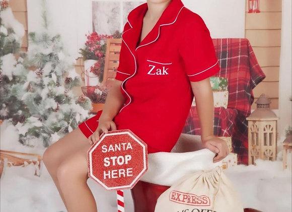 Alexa Cotton  Pjs in festive red