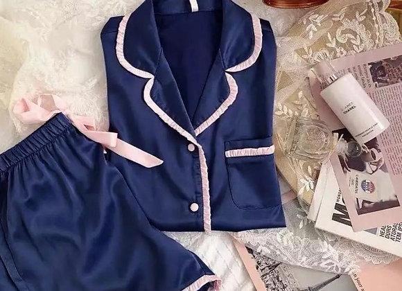 Navy blue satin frill short pyjamas