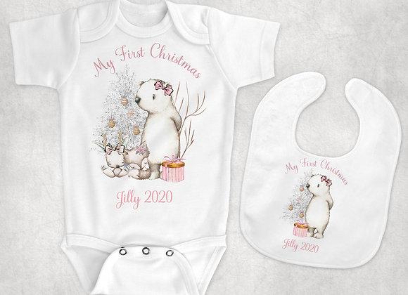 Pink winter baby vest and bib combo
