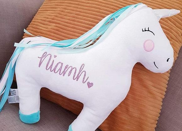 Personalised rainbow unicorn cushion