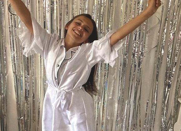 Amelia white robe with chiffon sleeves
