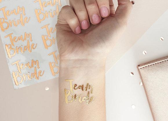 Rose Gold Team Bride Temporary Tattoos - Team Bride