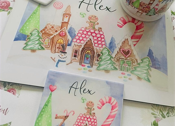 Gingerbread Land personalised Christmas dinner set with matching tree decoration
