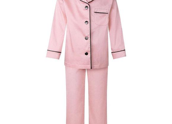 Full length pink satin pjs- Child