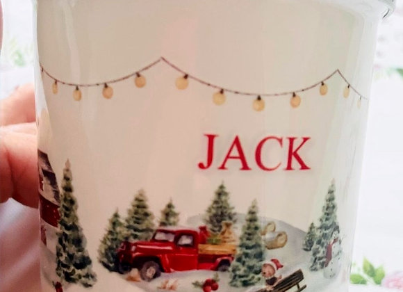 Winter at the farm  personalised  enamel mug