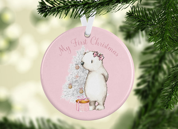 First Christmas  pink  ....Tree ornament