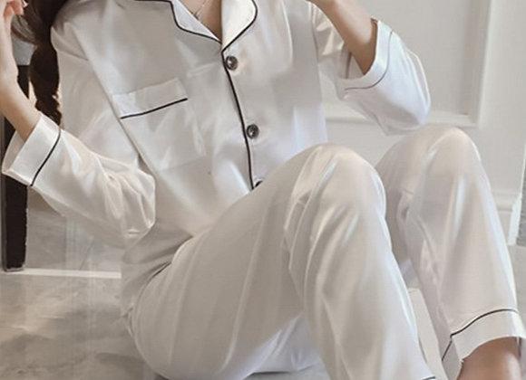 Alexa  pjs- satin  full length white