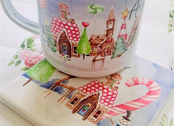 Gingerbread Land personalised mug and coaster set