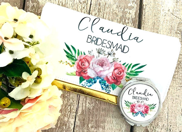 Personalised clutch and compact mirror duo