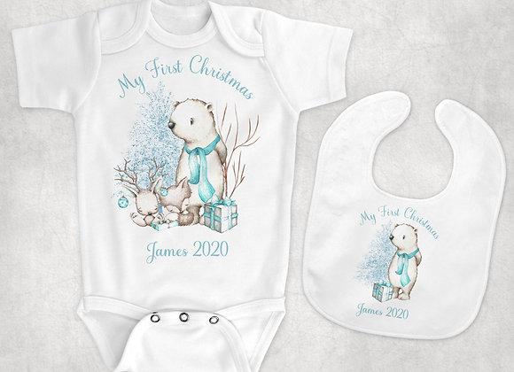 Tiffany blue winter baby vest and bib combo