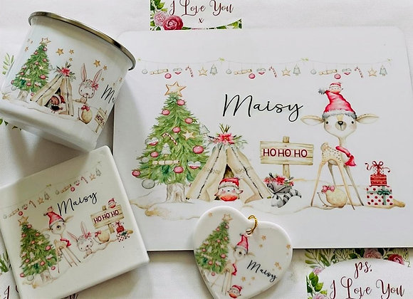 Enchanted woodland personalised dinner set with matching tree decoration