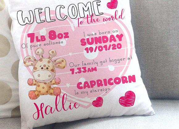 Welcome to the world baby girl- giraffe design cushion
