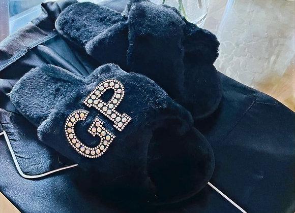 Personalised snuggle slippers-Black