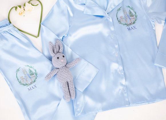 Light blue unisex Peter Rbbit inspired satin pyjamas
