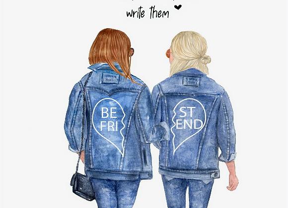 Personalised Best friend Print- Denim Jacket