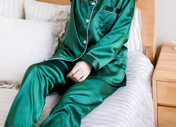 Alexa  pjs- satin  full length Green