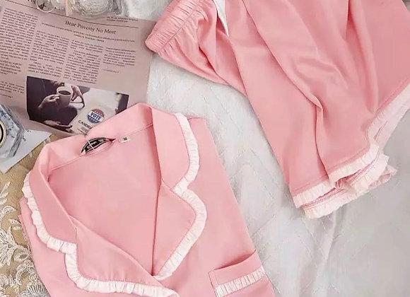 Baby pink satin frill short pyjama