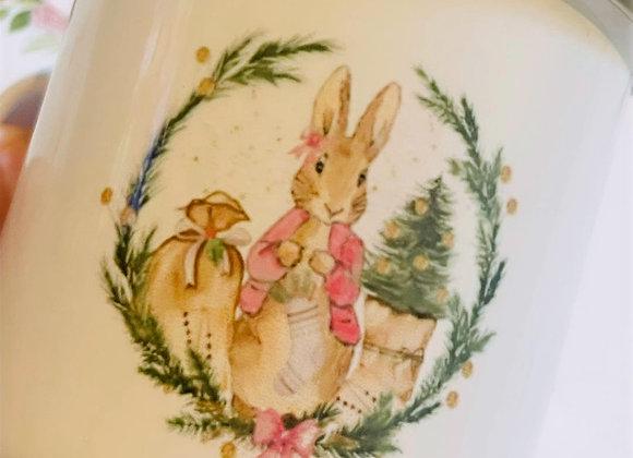 Merry Christmas  Personalised Flopsy Bunny Children's Mug
