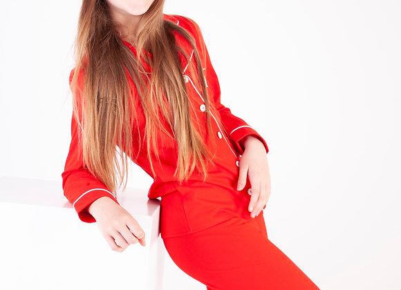 Unisex full legth cotton festve red pjs