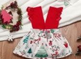 Christmas Style Print Sleeveless Red Baby Set