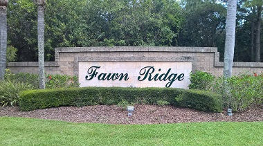 Fawn Ridge entrance sign