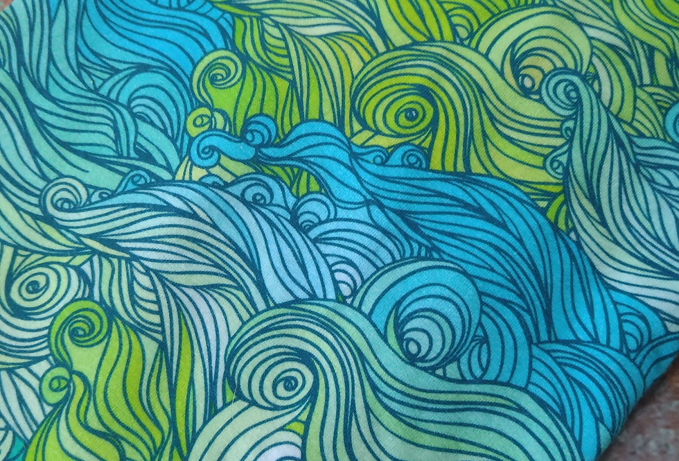 GREEN WAVES -  COTTON JERSEY