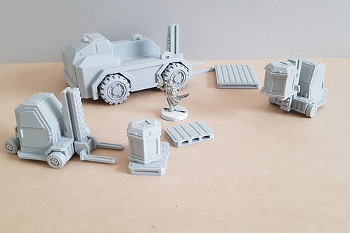 Cargo lifter truck and forklift set