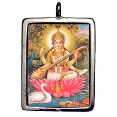 Saraswati Hindu Sacred Deity Charm Pendant Amulet Talisman