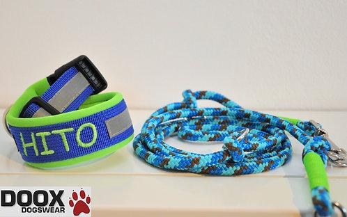Halsband & Leine - blue reflector