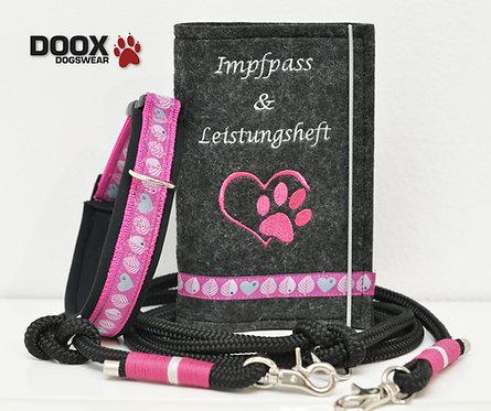 Halsband-Leine-Impfpass Set - pink