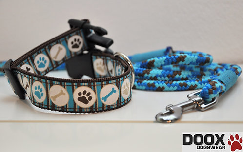 Halsband & Leine - blue paw
