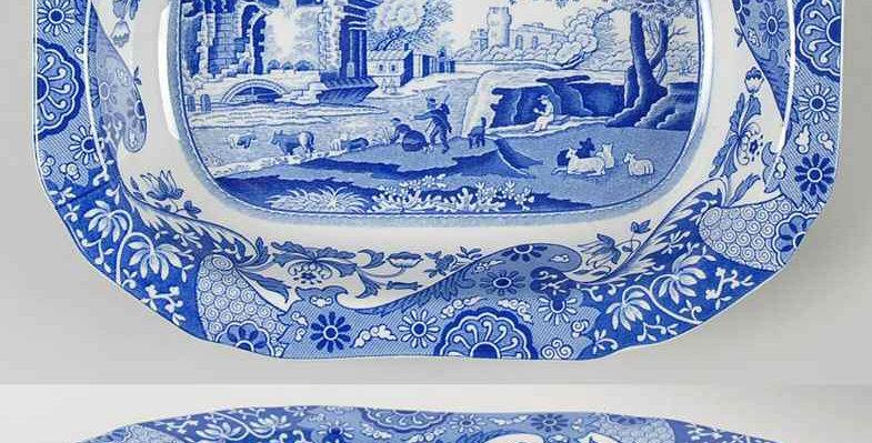 "Spode Blue Italian Octogon Plate 9"""