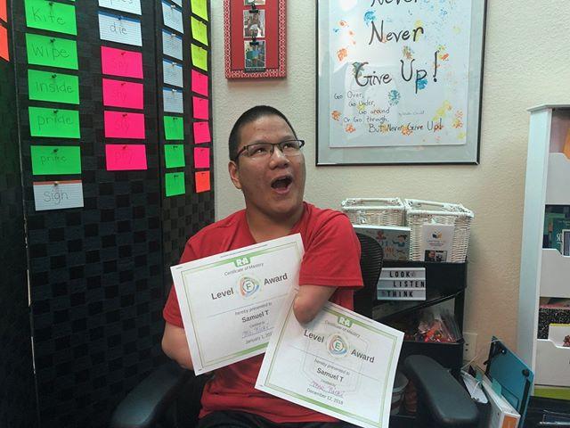 Samuel has passed 2 vocabulary readings!