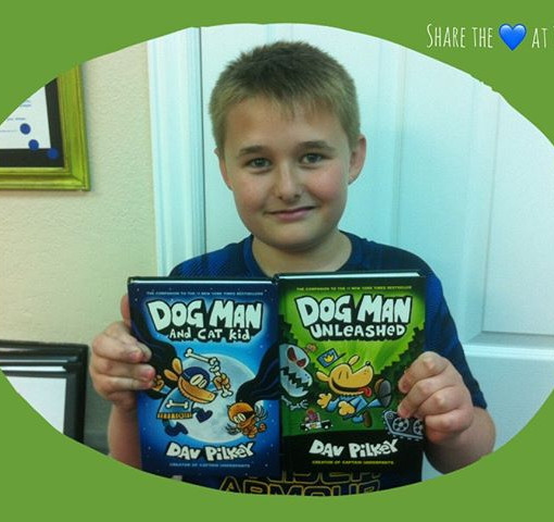 Hayden dives into his favorite books by Dav Pilkey.