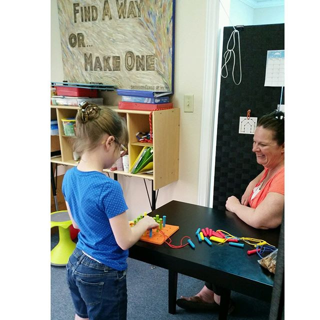 Renee works on visual processing with Ms. Dawn.