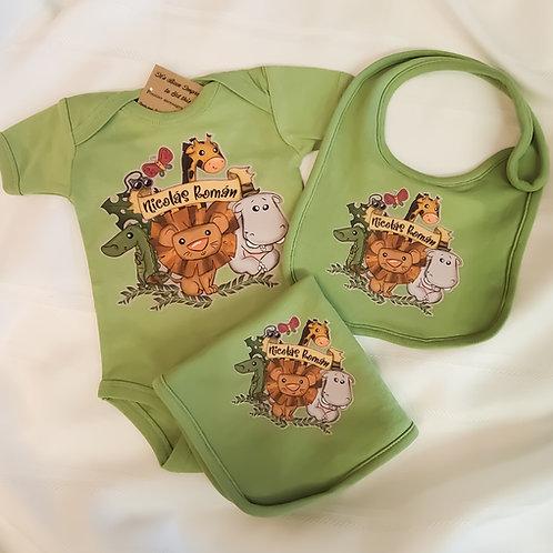 Infant Baby Gift Set in Sage Green Safari Jungle Theme