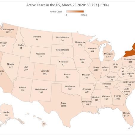 COVID-19: La situazione negli USA al 25 marzo