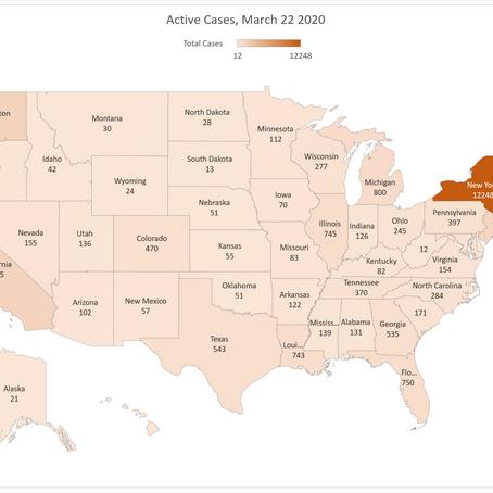 COVID-19: La situazione negli USA al 22 marzo